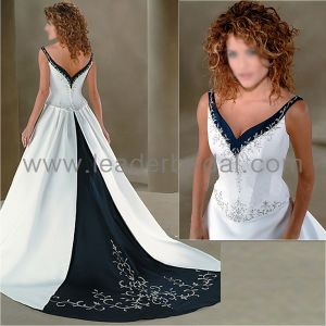 China sheer boat neck mermaid lace v back wedding dress for White wedding dress with blue accents