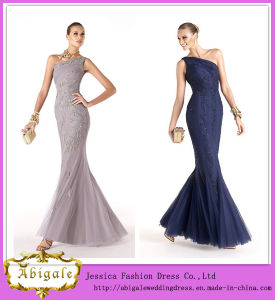 Brand Name Hot Sale Floor Length One-Shoulder Appliqued Tulle Evening Gown (WD57) pictures & photos