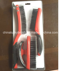 Double Colour Plastic Handle Steel Wire Set Brush (YY-513) pictures & photos