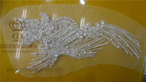 Wedding Headband Rhinestone and Pearl Beaded Applique for Bridal Sash