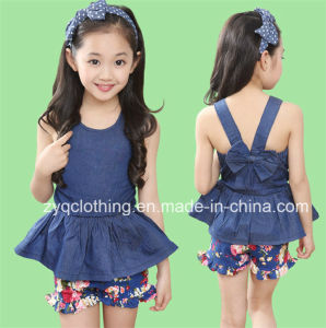 Girl′s Summer Suit, Girl′s Casual Dress with Pants pictures & photos