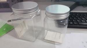 Square Pet Plastic Candy Food Jar with Aluminium Cap pictures & photos