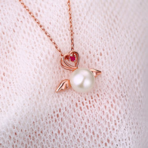 100% Genuine 925 Sterling Silver Natural Freshwater Pearl Angel Wings Heart Necklace Pendant Jewelry for Women Gift pictures & photos
