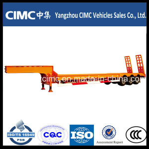 High Strength Low Bed Trailer Dimensions with Tri-Axle for Heavy Machine Transportation pictures & photos