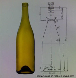 750ml AG Burgundy Bottle for Wine with Cork Finish 18.5mm pictures & photos