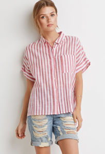 Short Sleeves Chest Pocket Boxy Stripe Shirt pictures & photos