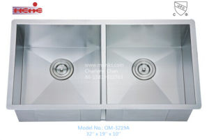 Double Bowl Handmade Stainless Steel Sink (3219A) pictures & photos