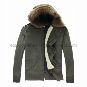 Army Green Hoody Cotton Nylon Men′s Padding Jacket with Cap (APC-EWART) pictures & photos