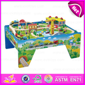 2015 High End Kids Wooden Toy Train Set, Educational Toy Thomas Railway Toy Train, 100/S Wooden Train Set with Table W04D005 pictures & photos