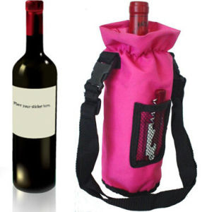High-Quality Cloth Red Wine Drawstring Bag pictures & photos