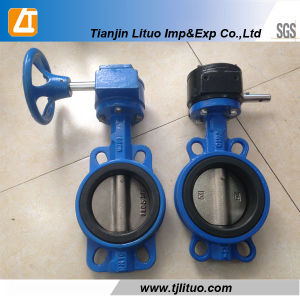 Cast/Ductile Iron Pn16 Dn200 Wafer Type Worm Gear Butterfly Valve pictures & photos