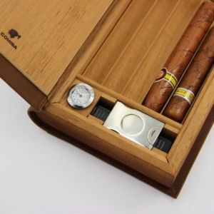Cohiba Brown Leather Book Style Cedar Lined Cigar Holder Cigarette Humidor with Cutter (ES-EB-031) pictures & photos