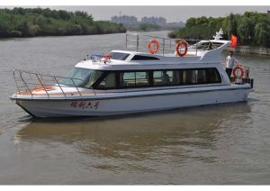 Fiberglass Passenger Boat Water Taxi with Cabin Twin Engine Propulsion pictures & photos