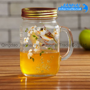 Customed Made Empty Glass Drinking Mason Jars with Handle pictures & photos
