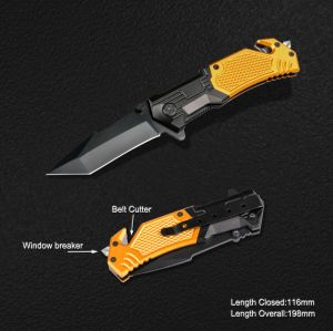 Survival Knife with Window Breaker & Belt Cutter (#3819) pictures & photos