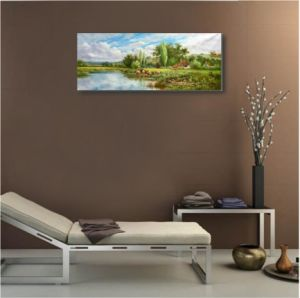 Canvas Oil Painting-Lake and Hill pictures & photos