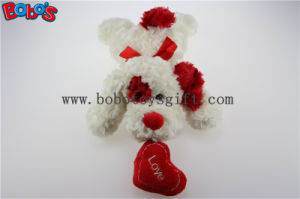 Bobo′s Plush White Lying Puppy Animal Toy with Red Ear and Heart Pillow in Wholesale Price Bos1192 pictures & photos