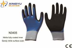Polyester Shell Nitrile Coated Saftey Work Gloves (N3405)) pictures & photos