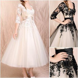 New Champagne Black Lace Short Bridal Wedding Gown Ankle / Tea Length 3/4 Sleeve a-Line Wedding Dress Custom Formal Gown Prom Dress