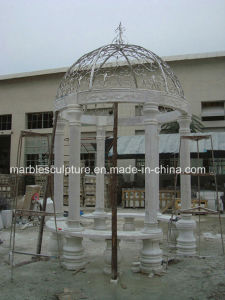 White Carrara Stone Sculpture   Marble Gazebo (SY-006) pictures & photos