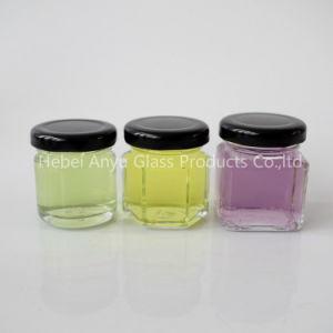 1 Oz 2 Oz Round Hexagon Square Mini Glass Honey Jar Mason Shot with Black Lid pictures & photos