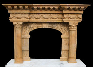 Column Fireplace, Marble Fireplace, Stone Mantel (FRP363) pictures & photos