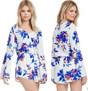 OEM Long Sleeve Playsuit Sexy Women Romper and Ladies 100% Chiffon Jumpsuite pictures & photos