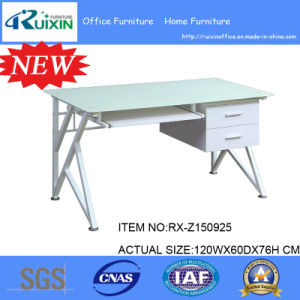 New Design White Frosted Glass Desktop & Steel Frame Office Furniture Table
