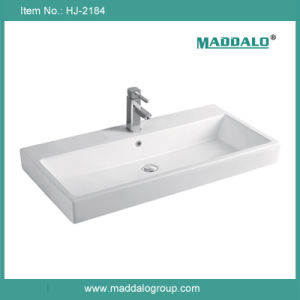 Large Size Cabinet Basin, Porcelain White Rectangular Basin (HJ-2184)
