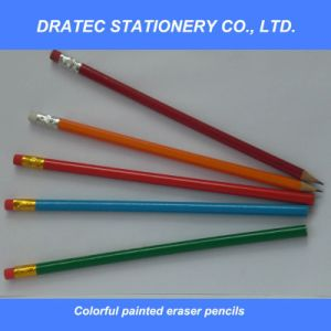 Wooden Pencil with Eraser Tip pictures & photos