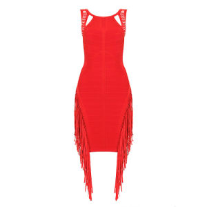 Custom High Standard Tassles Red Sexy Bandage Party Dress pictures & photos