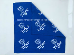 China Factory Produce Customized Logo Two Sides Printed Blue Cotton Headwear Bandana pictures & photos