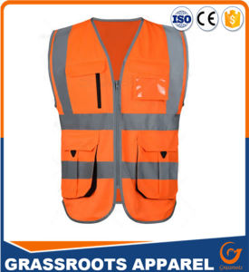 100 Polyester High Visibility Reflective Safety Vest Multi Pocket Workwear Waistcoat pictures & photos