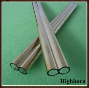 Top Selling Gold Plating Twin Silica Quartz Glass Pipe Tube Tubing pictures & photos
