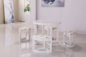 One Table with Four Stools Wooden Dining Set (M-X1026) pictures & photos