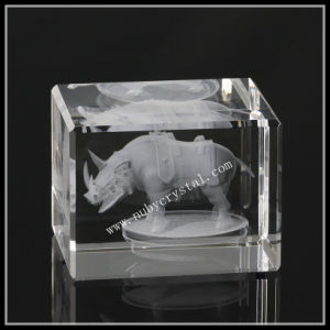 2 Inches Crystal Block Laser Engraved Rhinoceros (ND-1013) pictures & photos