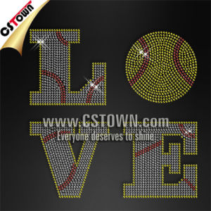 Classic Design Love Softball Rhinestone Bling Iron on Transfers