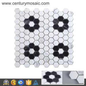 First Class Sunflower Shaped Marble Hexagon Mosaic Tile Sheets