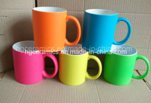 Rubber Paint Ceramic Mug, Rubber Paint Neon Color Mug pictures & photos