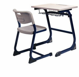 Furniture Plastic Students Single Desk and Chair with Open Front Metal Book Box pictures & photos