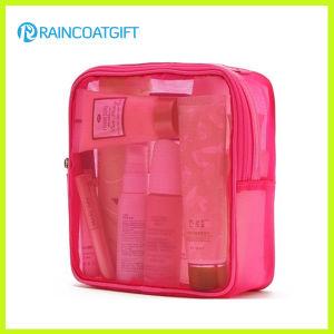 Zipper Pink PVC Cosmetic Makeup Bag Rbc-041 pictures & photos
