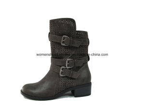 New Hot Chunky High Heel Ankle Boots with Punch Hole pictures & photos