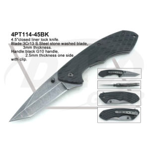 "4.5""Closed Liner Lock Black G10 Handle Knife with Stone Washed pictures & photos"