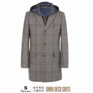OEM 2017 Winter Plaid Men′s Woolen Overcoat pictures & photos