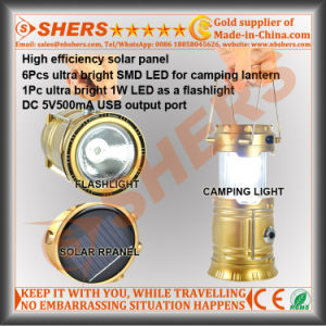 Solar LED Camping Lantern with 1W LED Flashlight, USB (SH-1995A) pictures & photos