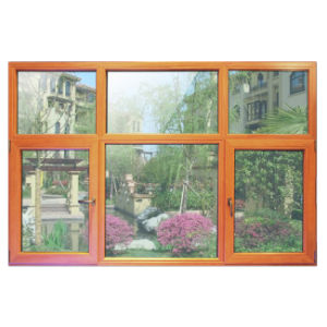 Wooden Colourful Aluminum Profile Casement Window with Multi Lock K03030 pictures & photos