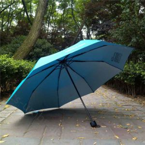 Blue Pongee Fabric with Silver Windproof 3 Fold Umbrella (YS3F0008)