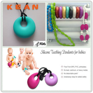 Silicone Teether Ring Pendant/Baby Chewable Fashionable Silicone Nursing Pendant (#13)