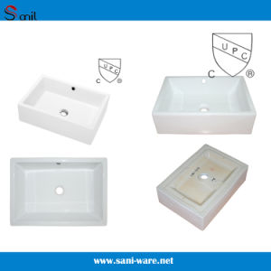 Very Popular Cupc Rectangular Counter Top Porcelain Sink (SN104) pictures & photos