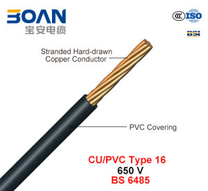 Cu/PVC Type 16, PVC Covered Conductors for Overhead Power Lines, 650 V (BS 6485) pictures & photos